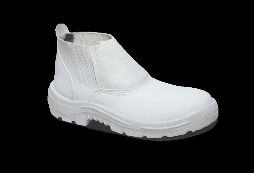 1.3456 - Botina Elástico - Solado Bidensidade Protefort Premium - Microfibra - Biqueira Termoplástica - Branco