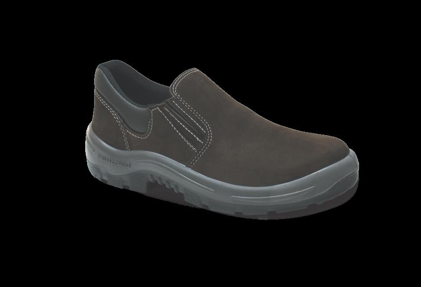 44.3398 - Sapato Elástico - Solado Bidensidade Protefort Premium - Nobuck - Biqueira PVC - Marrom